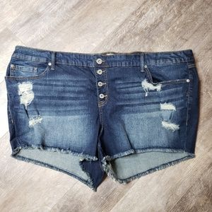 Torrid Ripped Front Button Fly Cut Off Jeans - 26
